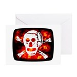 Poison Skull & Flames Greeting Cards (Pk of 10)