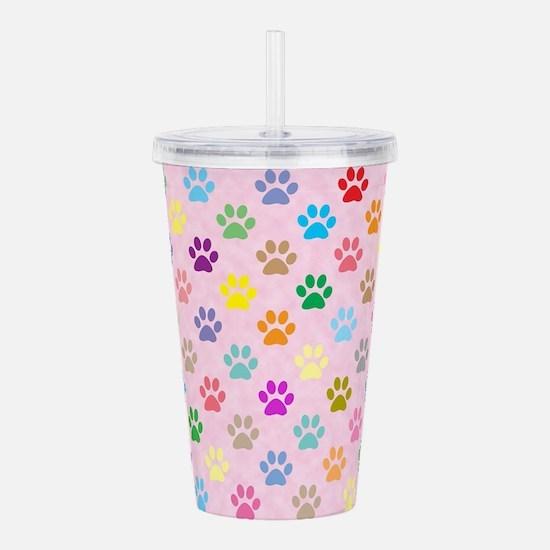 Colorful puppy paw pri Acrylic Double-wall Tumbler
