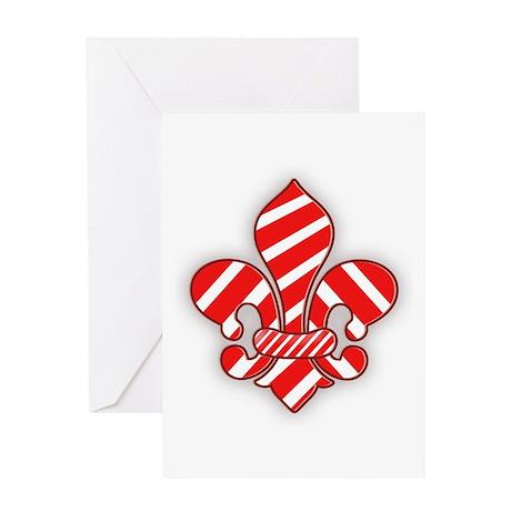 Candy Cane Fleur de lis Greeting Card