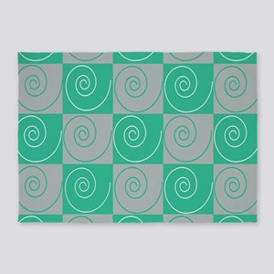Teal and Gray Mousey Tails 5'x7'Area Rug