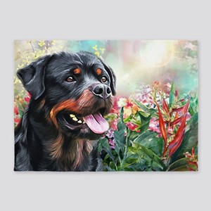 Rottweiler Painting 5'x7'Area Rug