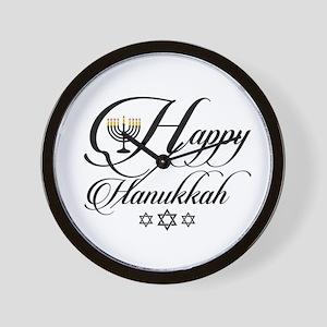 Happy Hanukkah- Jewish holiday celebrat Wall Clock