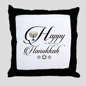 Happy Hanukkah- Jewish holiday celebr Throw Pillow