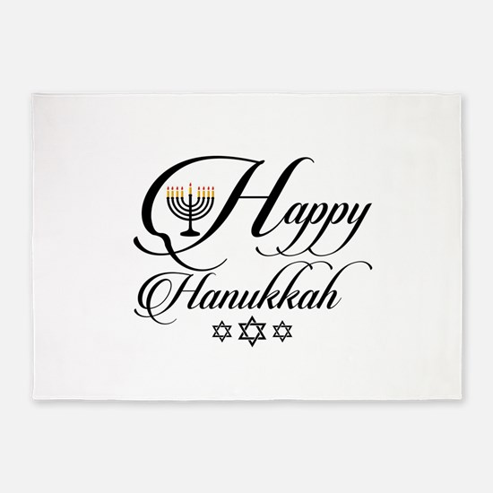 Happy Hanukkah- Jewish holiday cele 5'x7'Area Rug