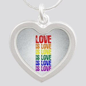 Love is Love is Love Silver Heart Necklace