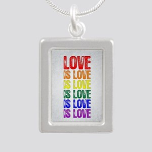 Love is Love is Love Silver Portrait Necklace