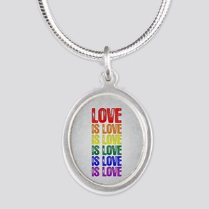 Love is Love is Love Silver Oval Necklace