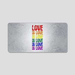 Love is Love is Love Aluminum License Plate