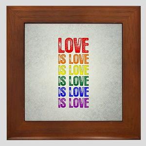 Love is Love is Love Framed Tile