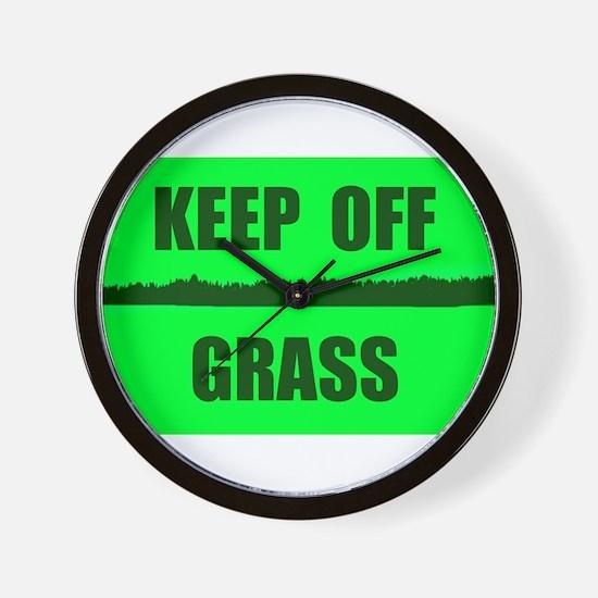 KEEP OFF GRASS Wall Clock