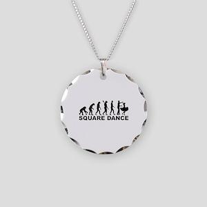 Evolution square dance Necklace Circle Charm