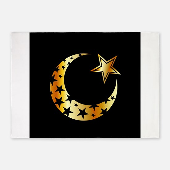 Golden Islamic star 5'x7'Area Rug