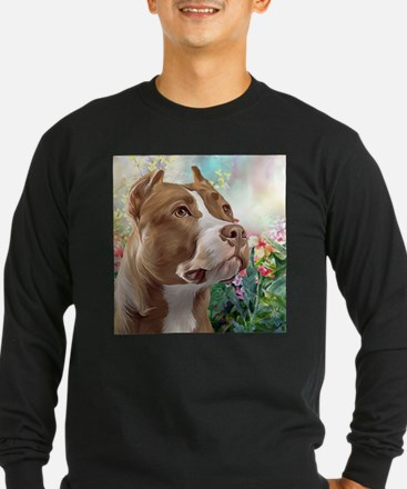 Pit Bull Painting Long Sleeve T-Shirt