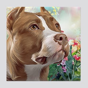 Pit Bull Painting Tile Coaster
