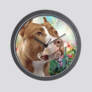 Pit Bull Painting Wall Clock