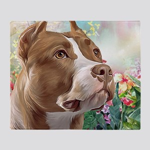 Pit Bull Painting Throw Blanket
