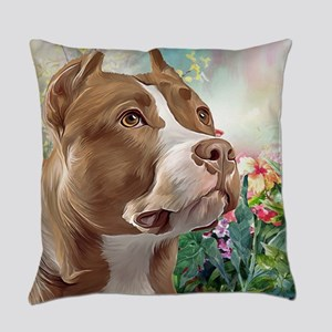 Pit Bull Painting Everyday Pillow