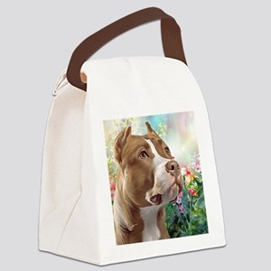 Pit Bull Painting Canvas Lunch Bag