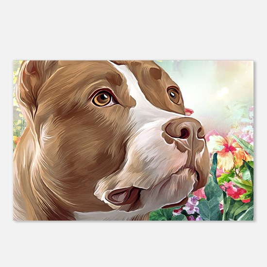 Pit Bull Painting Postcards (Package of 8)