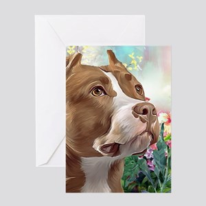 Pit Bull Painting Greeting Cards