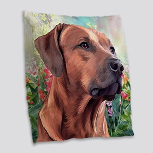 Rhodesian Ridgeback Painting Burlap Throw Pillow