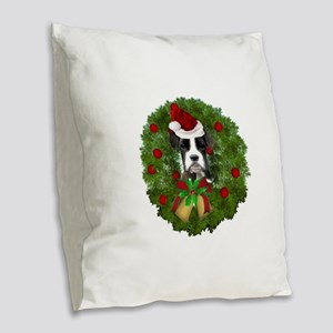 Christmas Boxer Dog Burlap Throw Pillow