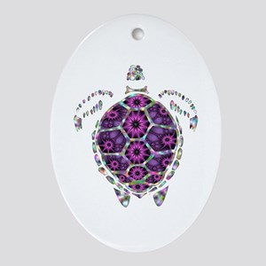 Girly Rainbow Sea Tortoise Shell Oval Ornament
