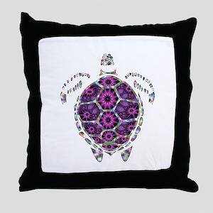Girly Rainbow Sea Tortoise Shell Throw Pillow