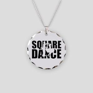 Square dance Necklace Circle Charm