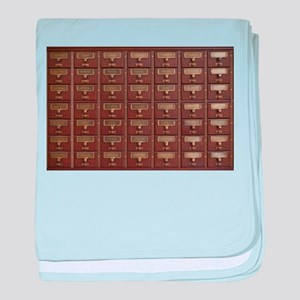 Vintage Library Card Catalog Drawers baby blanket