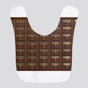Vintage Library Card Catalog Dr Polyester Baby Bib