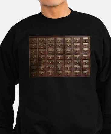Vintage Library Card Catalog Drawers Sweatshirt