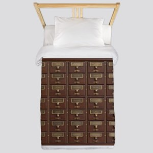 Vintage Library Card Catalog Draw Twin Duvet Cover