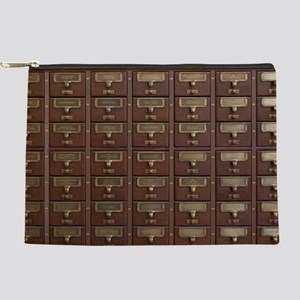 Vintage Library Card Catalog Drawers Makeup Bag