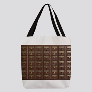 Vintage Library Card Catalog Dr Polyester Tote Bag
