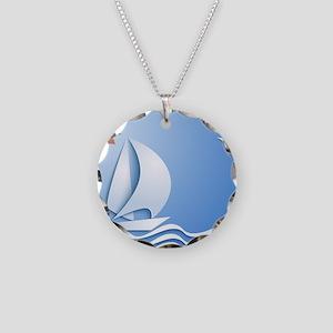 Summer Sailing Necklace Circle Charm