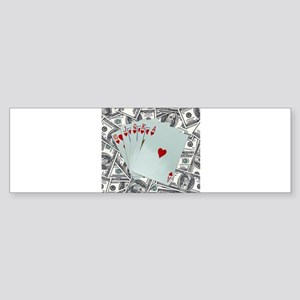 Royal Flush Hearts Bumper Sticker