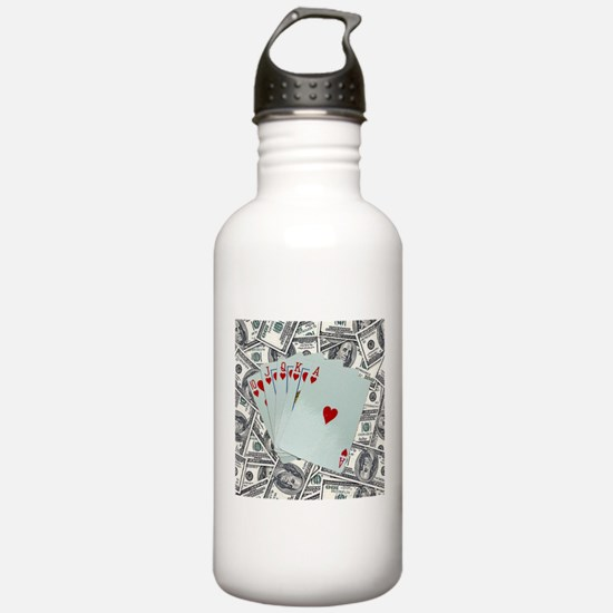 Royal Flush Hearts Water Bottle