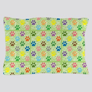 Colorful puppy paw prints pattern Pillow Case