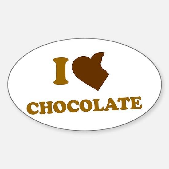 I Love [Heart] Chocolate Oval Decal