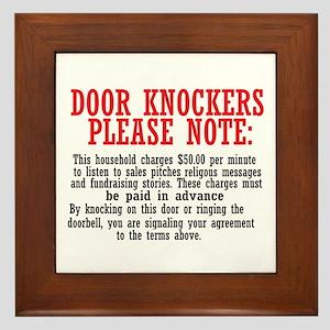 door knockers humor Framed Tile