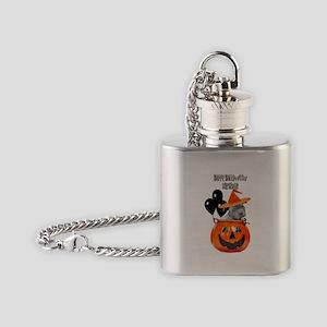 Happy Halloween Birthday Pitbull Flask Necklace