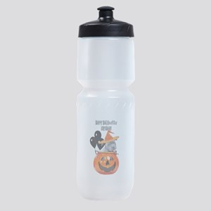 Happy Halloween Birthday Pitbull Sports Bottle