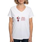 Merry Fuckin' Ho Ho! Women's V-Neck T-Shirt