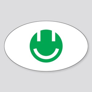 green smile face clear Sticker (Oval)