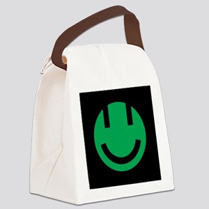 green smile face black square Canvas Lunch Bag