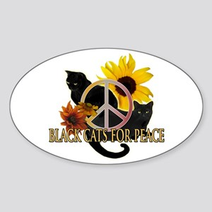 Black Cats for Peace Oval Sticker