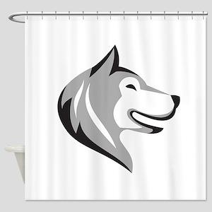 Husky Dog Head Retro Shower Curtain