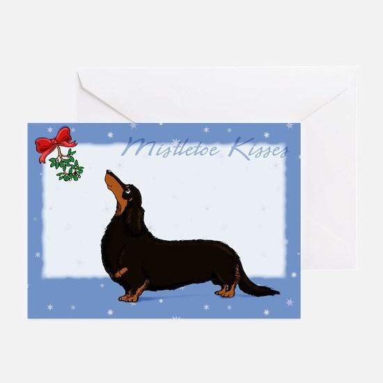 Longhaired Dachshund Kisses Christmas Cards (20