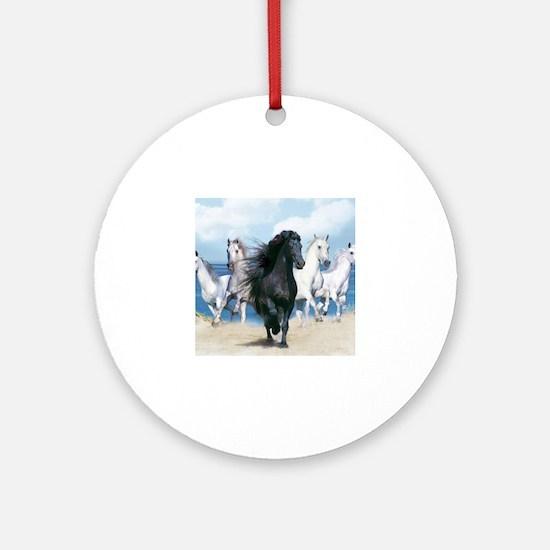 Cute Wild horses Round Ornament
